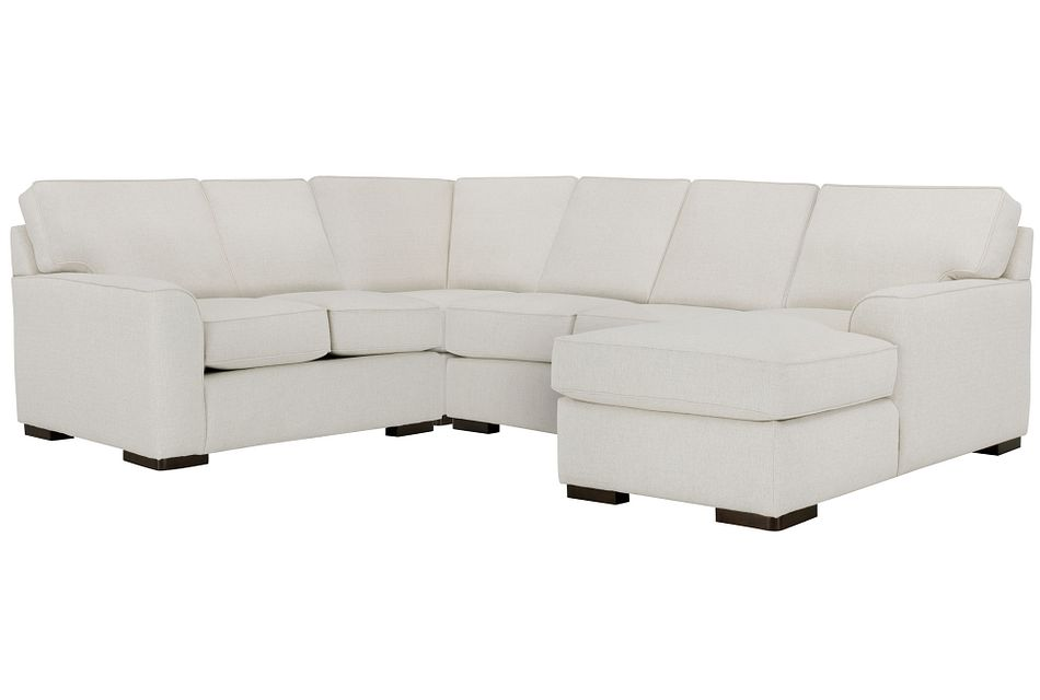 Austin White Fabric Medium Right Chaise Sectional
