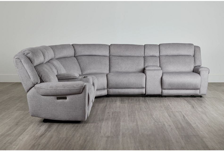 Beckett Gray Micro Large Dual Power Reclining Two-Arm Sectional,  (0)