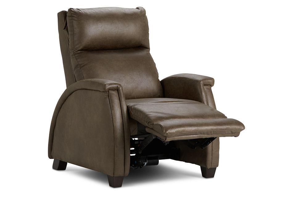 Smith Dark Brown Micro Zero Gravity Power Recliner W/heat & Massage