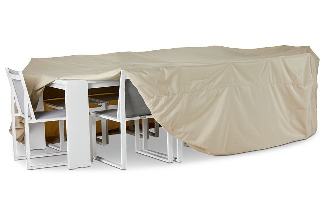 Khaki Large Table & 4 Chairs Outdoor Cover