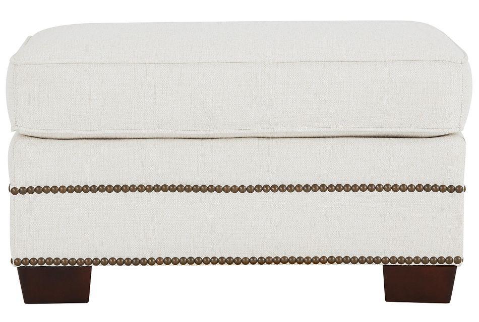 Foster White Fabric Ottoman