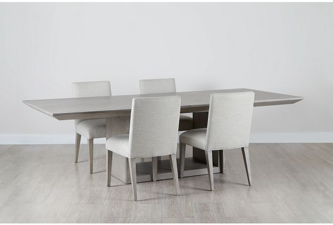 Rio Light Tone Trestle Table & 4 Upholstered Chairs