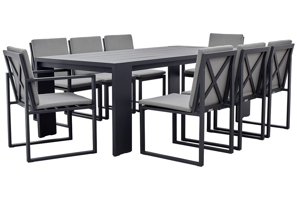 """Linear Dark Gray 87"""" Aluminum Table & 4 Cushioned Side Chairs"""