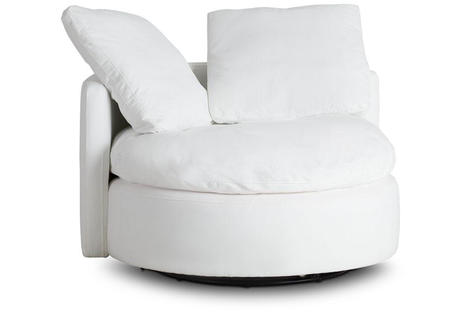 Orbit White Micro Swivel Accent Chair