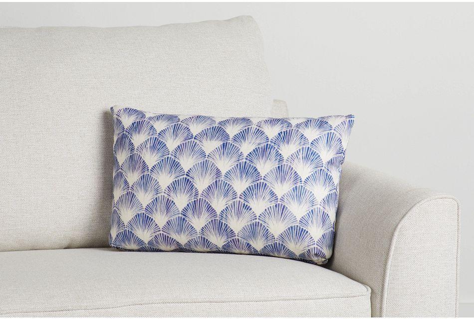 Shell Blue Fabric Lumbar Accent Pillow,  (0)