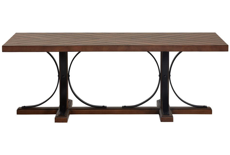 Iron Trestle Mid Tone  Coffee Table