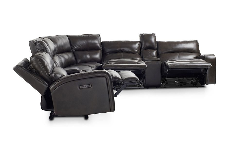 Declan Dark Brown Lthr/vinyl Two-arm Power Reclining Sectional