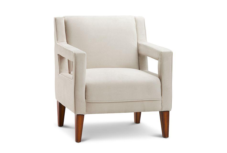 Dawson Light Beige Velvet Accent Chair