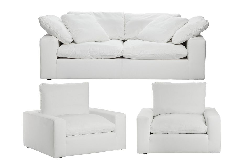 Nixon White Fabric Living Room