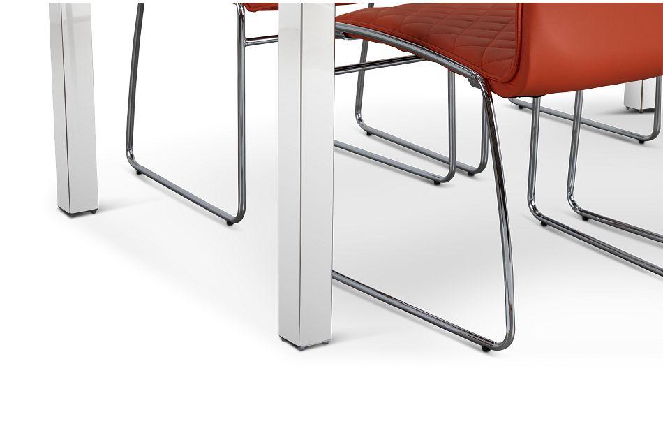 Skyline Orange Rect Table & 4 Metal Chairs