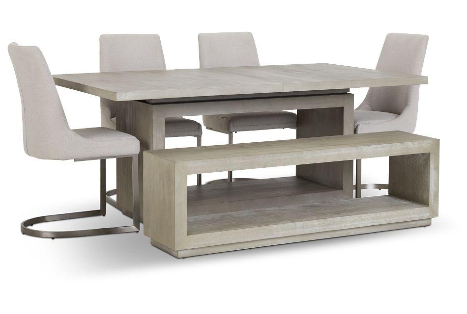 Madden Light Tone Rect Table, 4 Chairs & Bench,  (2)