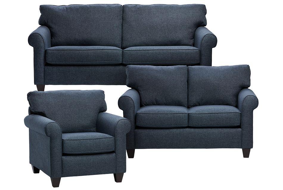 Cameron Blue Fabric Living Room