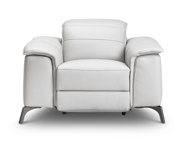 Pearson White Leather Power Recliner With Power Headrest (3)