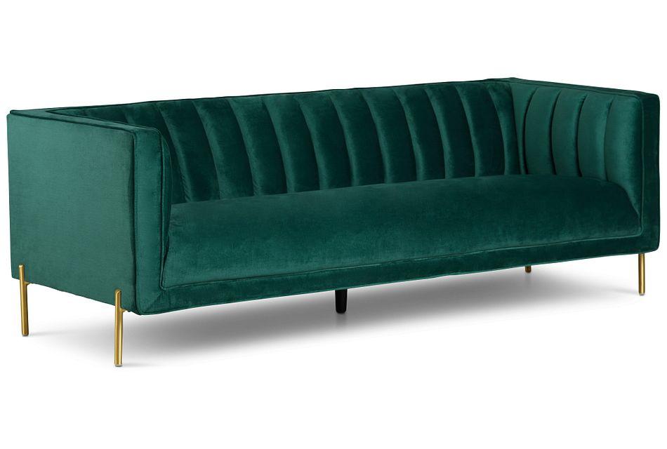 Bella Dark Green  Velvet Sofa,  (2)