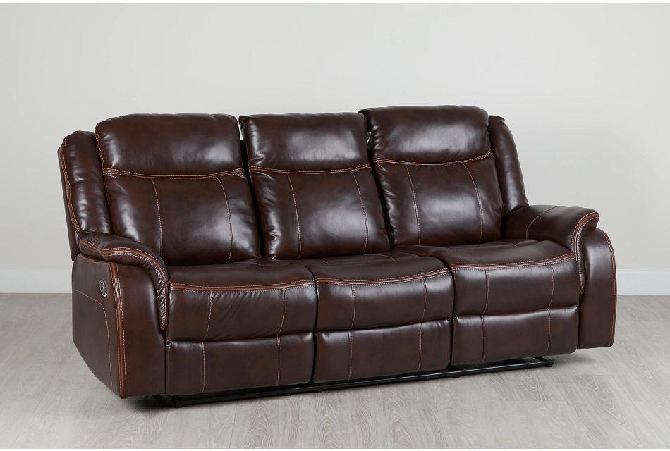 Lowe Dark Brown Micro Power Reclining Sofa