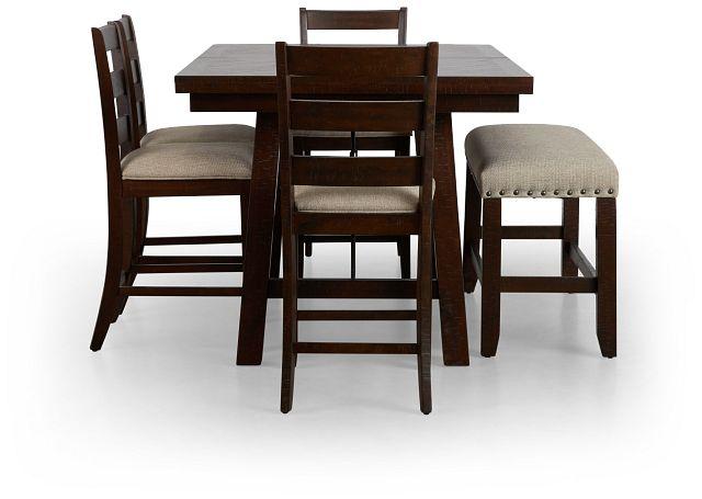 Jax Dark Tone High Table, 4 Barstools & High Bench (2)