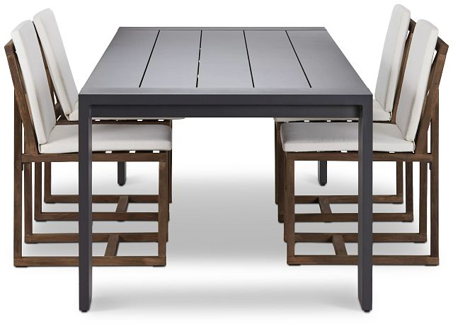 """Linear Dark Gray White 110"""" Aluminum Table & 4 Teak Cushioned Side Chairs (1)"""