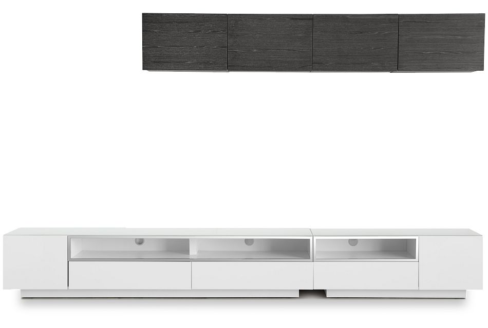"Vancouver 134"" White Dk Gray 6-piece Right Modular Entertainment Wall"
