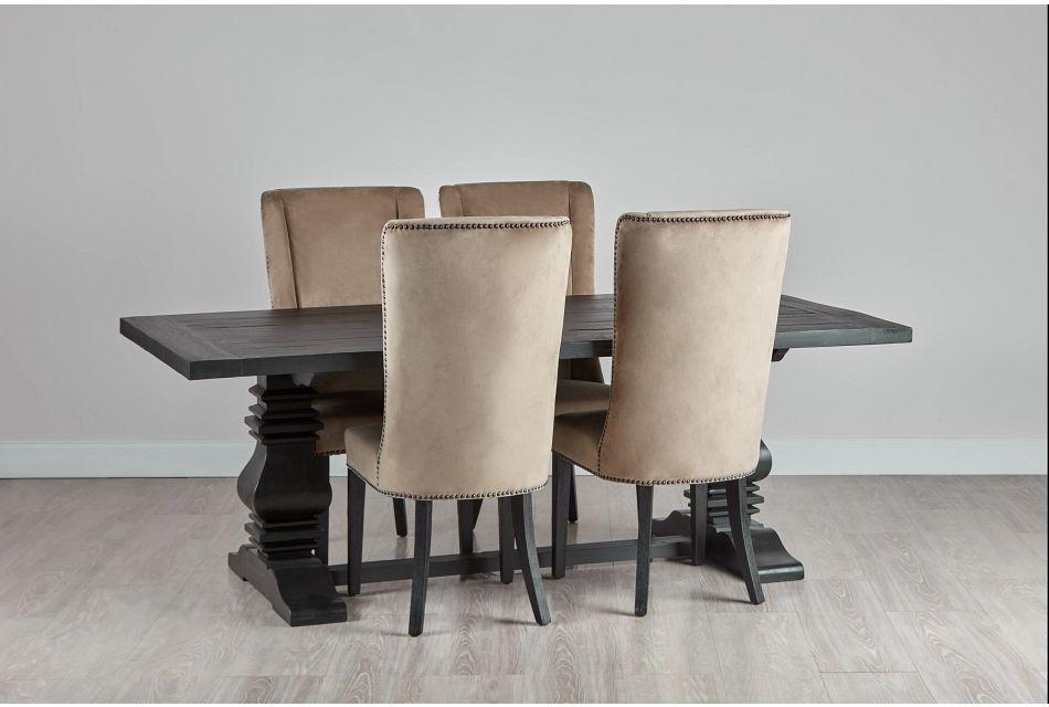 """Hadlow Black 84"""" Table & 4 Velvet Chairs"""