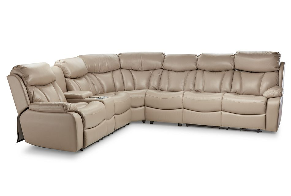 Dustin Beige Micro Large Left Console Love Reclining Sectional