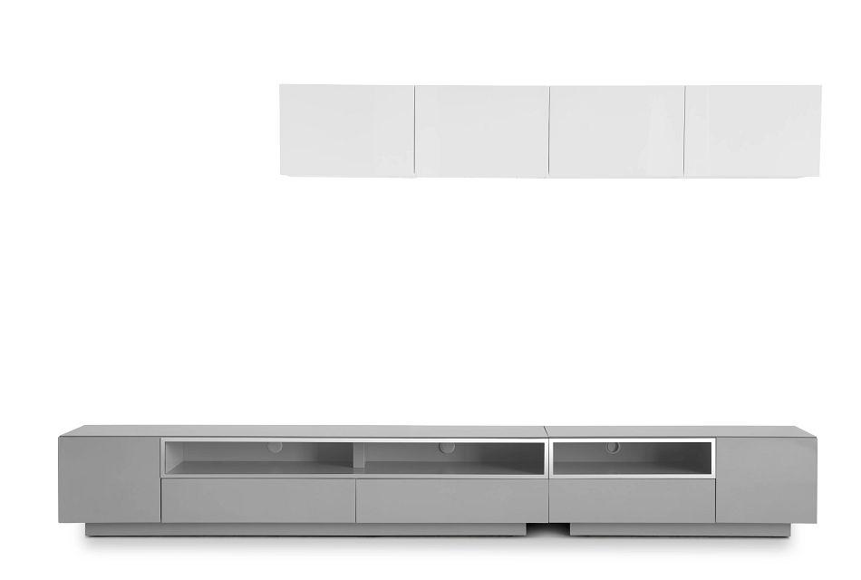 "Vancouver 134"" Gray White 6-piece Right Modular Entertainment Wall"