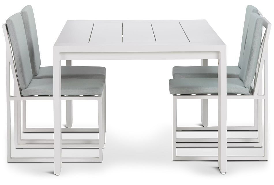"Linear White Teal 70"" Aluminum Table & 4 Cushioned Side Chairs"