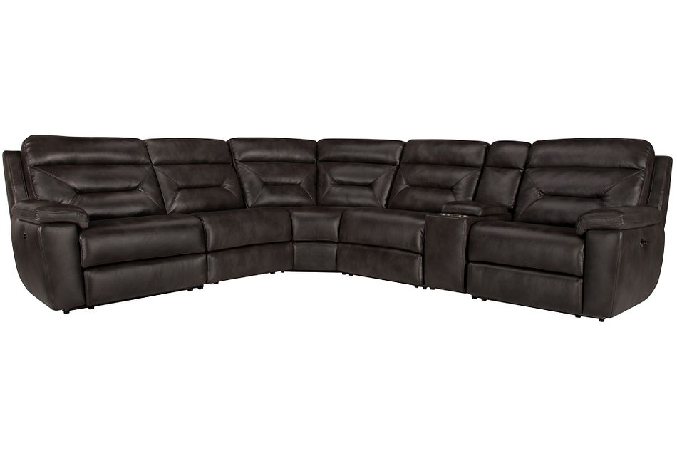 Phoenix Dark Gray Micro Small Triple Power Reclining Two-arm Sectional