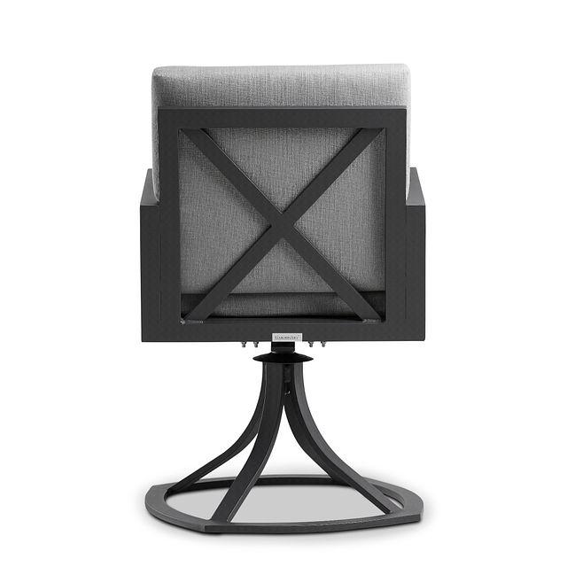 Linear Dark Gray Swivel Arm Chair (3)