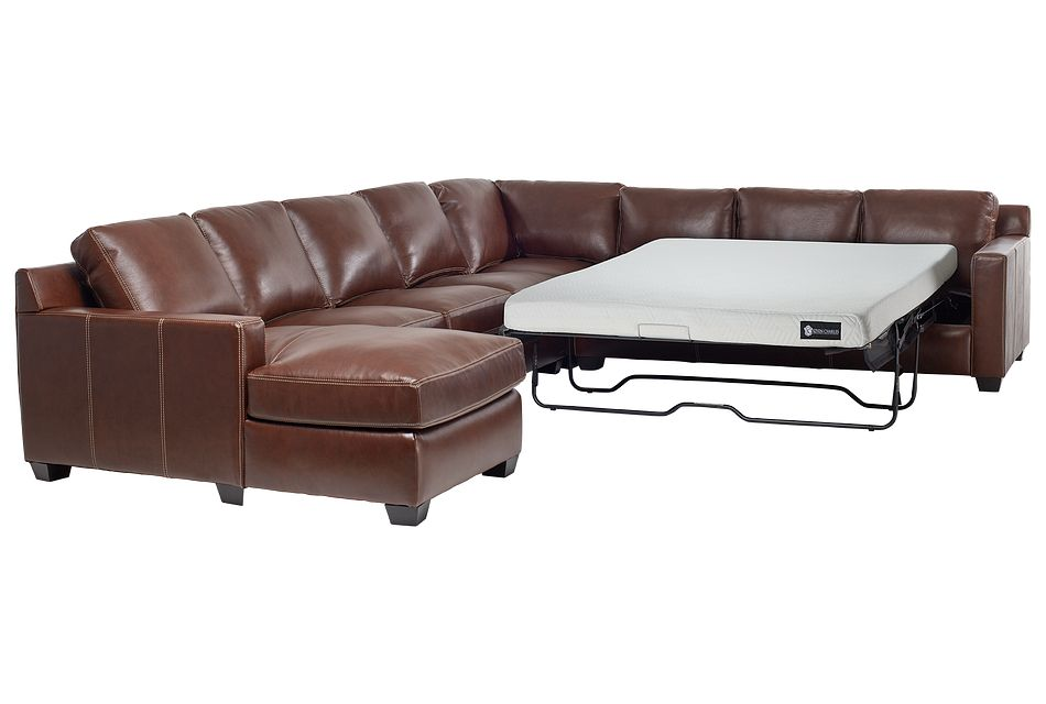 Carson Medium Brown Leather Large Left Chaise Memory Foam Sleeper Sectional