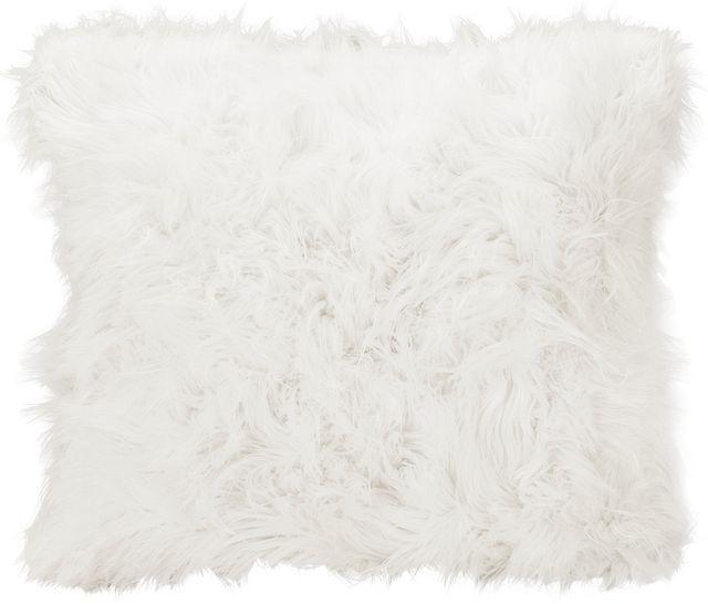 Shag2 White Square Accent Pillow
