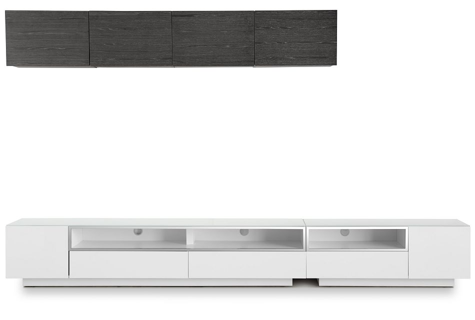 "Vancouver 134"" White Dk Gray 6-piece Left Modular Entertainment Wall"