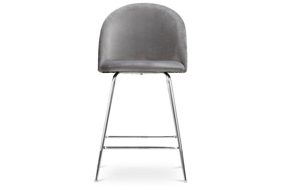 "Capri Gray Upholstered 24"" Barstool W/chrome Legs"