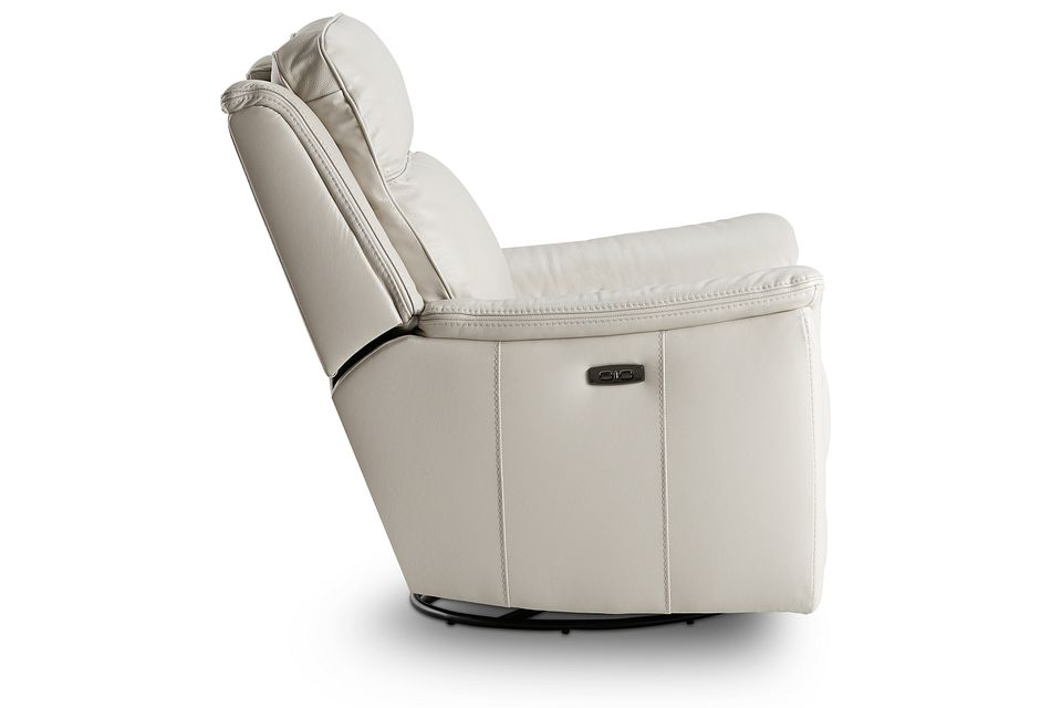 Aiden Light Gray Leather Power Glider Recliner With Power Headrest