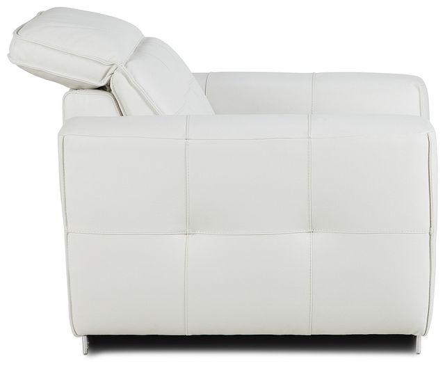 Reva White Leather Power Recliner With Power Headrest (3)
