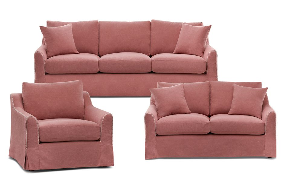 Madelyn Red Fabric Living Room
