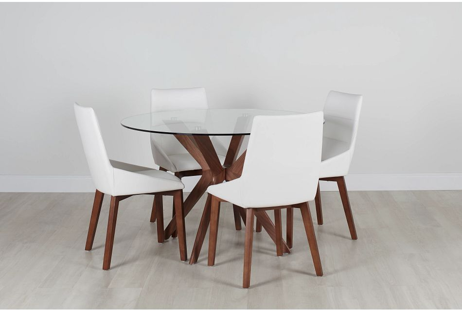 Fresno Glass White Round Table & 4 Upholstered Chairs
