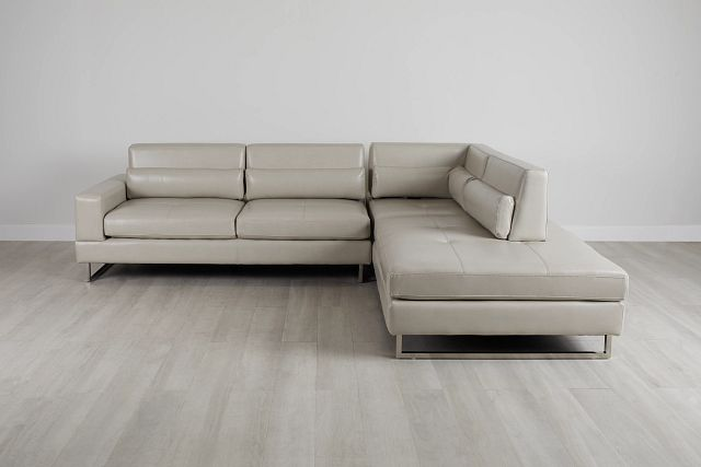 Alec Light Gray Micro Right Chaise Sectional (2)