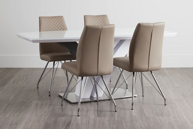 Lima Taupe Table & 4 Upholstered Chairs (2)