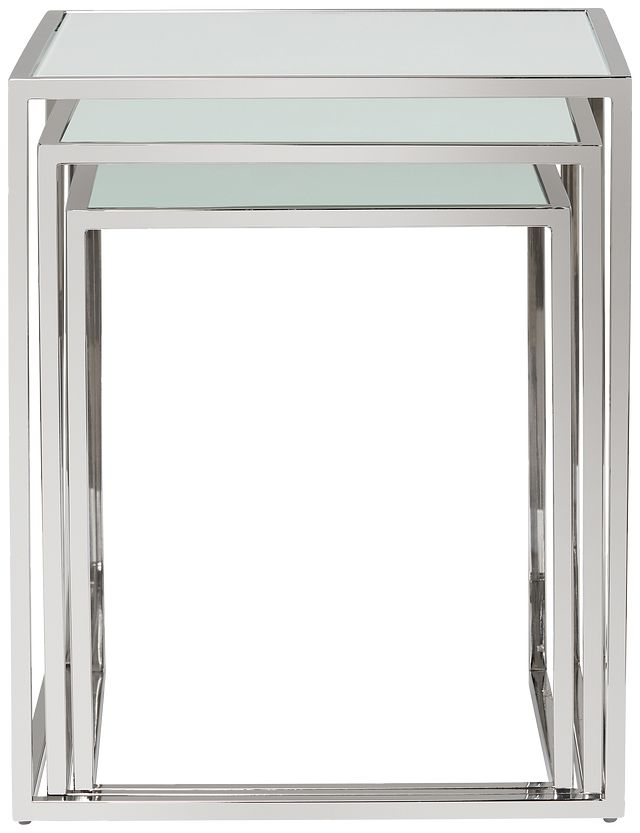 Eve White Glass Nesting End Table (0)