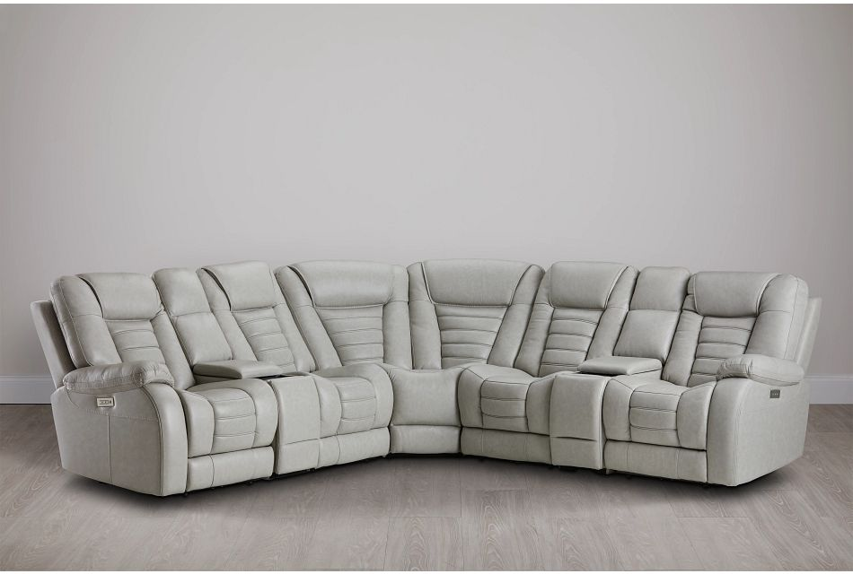Bradley Gray Lthr/vinyl Large Dual Power Reclining Two-arm Sectional