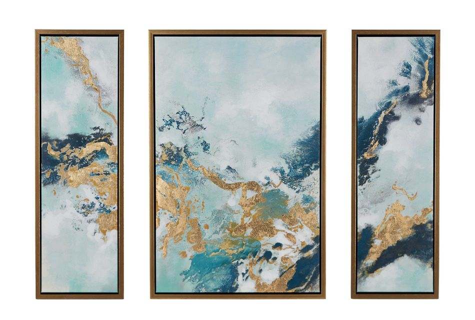 Zola Blue Set Of 3 Framed Wall Art