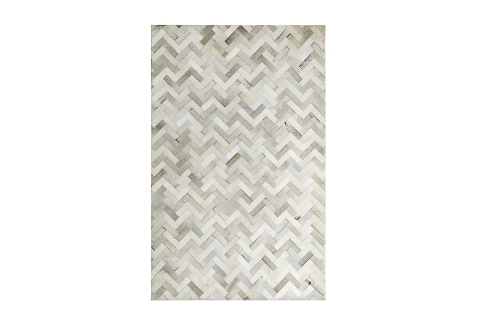 Chevy Light Gray Leather 5x8 Area Rug