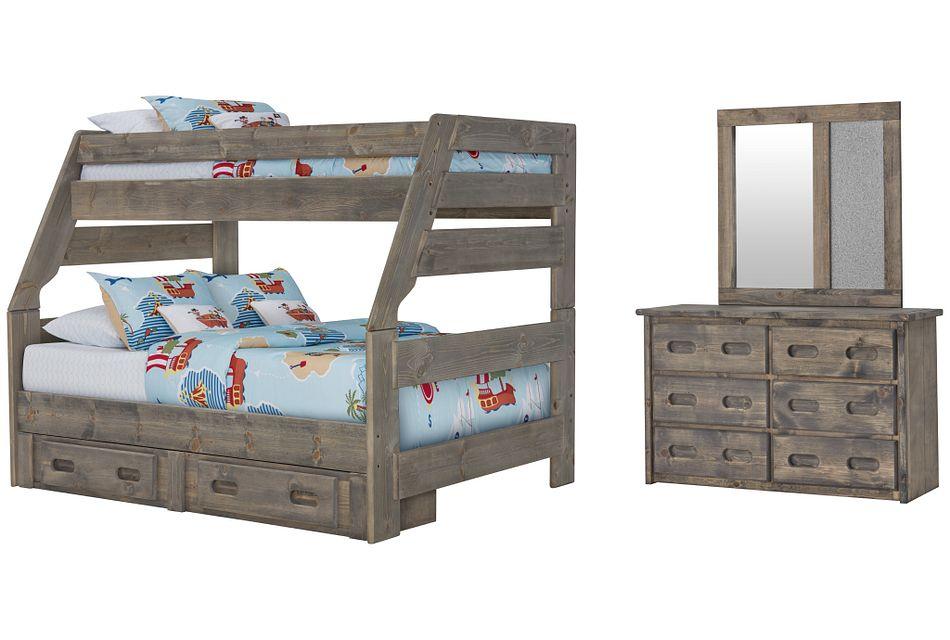 Cinnamon Gray Bunk Bed Storage Bedroom