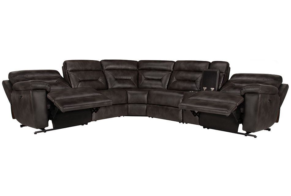 Phoenix Dark Gray  MICRO Small Two-Arm Power Reclining Sectional