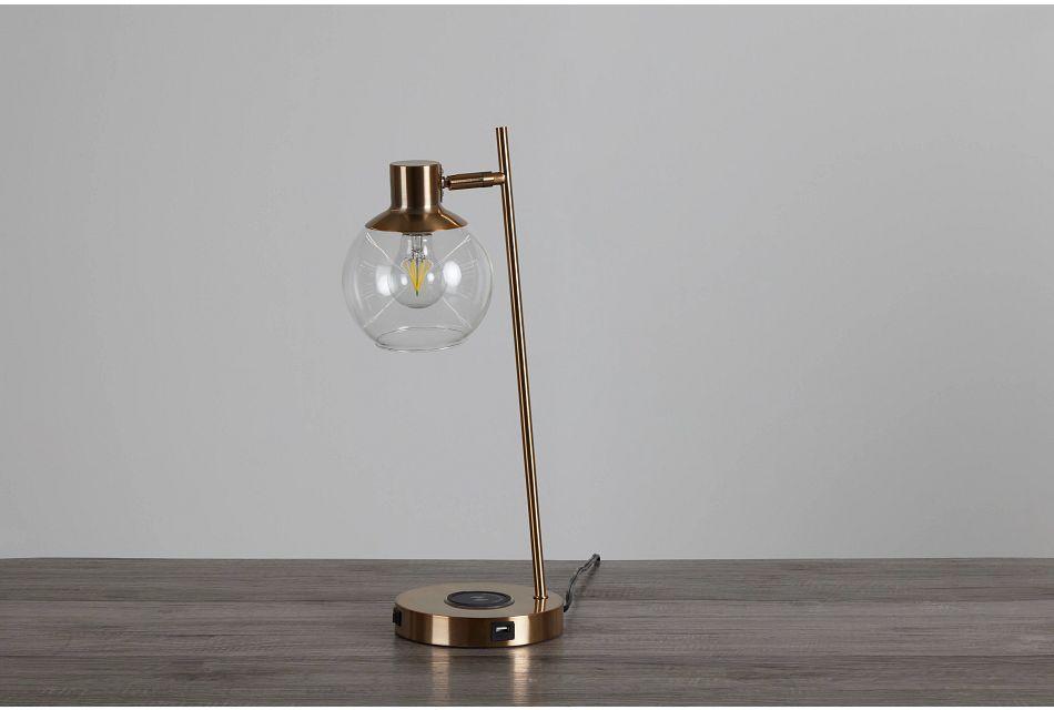 Lila Gold Metal Desk Lamp,  (0)