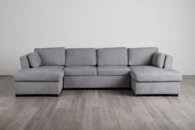 Amber Dark Gray Fabric Double Chaise Sleeper Sectional (0)