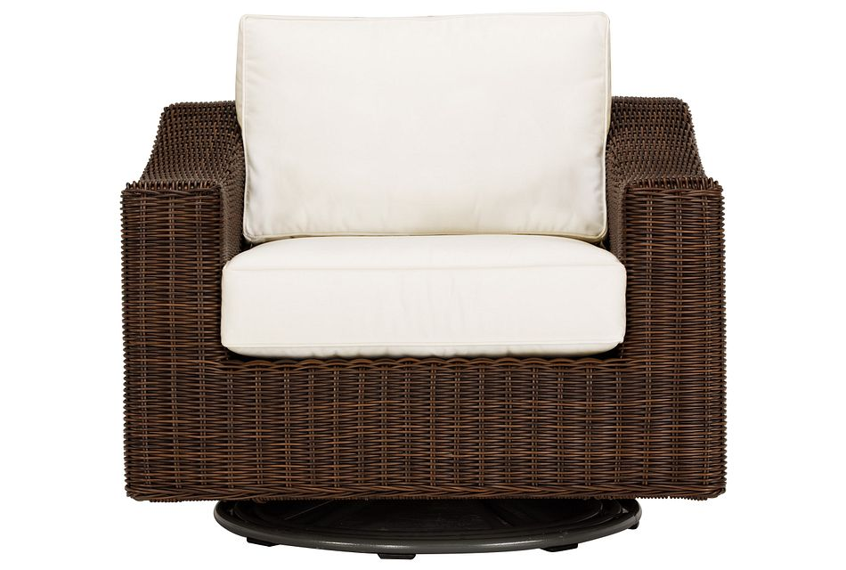 Canyon Dark Brown  White Swivel Chair
