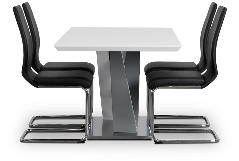 Lennox Black Rect Table & 4 Upholstered Chairs