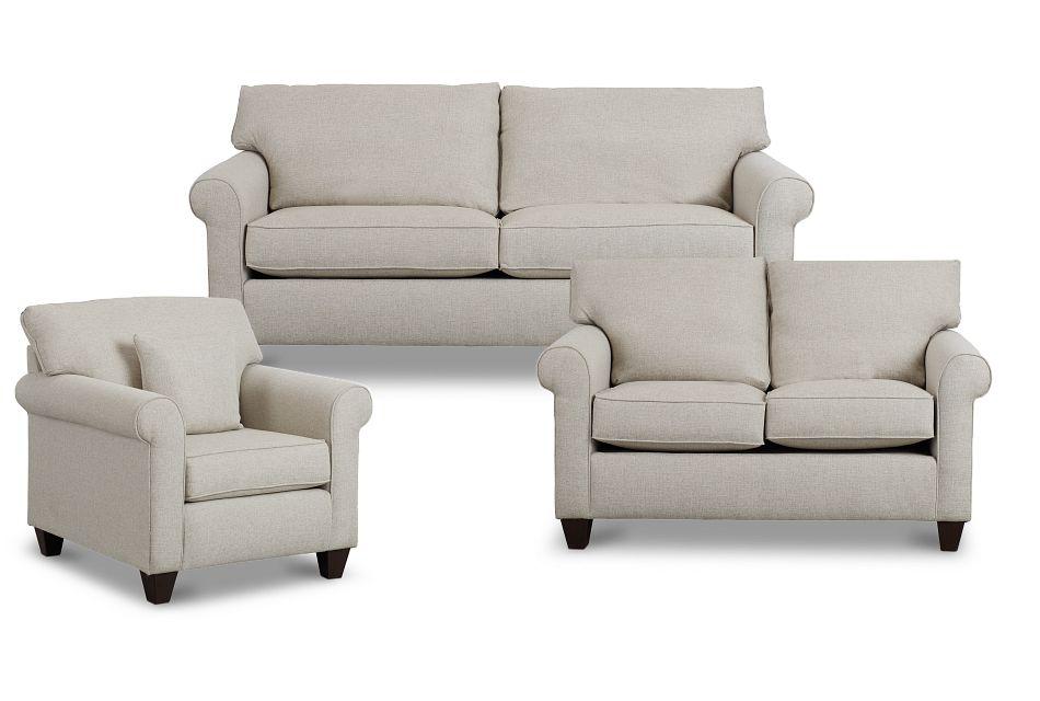 Cameron Beige Fabric Living Room,  (3)