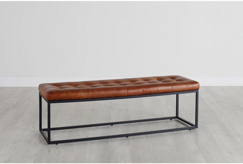 Saddle Medium Brown Leather Accent Ottoman,  (0)